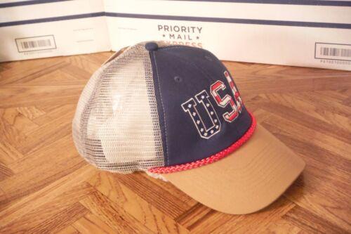 USA Blue Front With Tan Bill SNAPBACK MESH BACK TRUCKERS Baseball Cap Hat