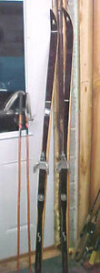 MW1-Vintage-Norway-Asnes-Cross-Country-Wooden-Hickory-skis-amp-poles-bindings