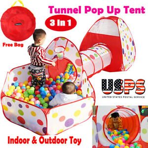 Portable-Kids-Indoor-Outdoor-Play-Tent-Crawl-Tunnel-Set-3-in-1-Ball-Pit-Tent-US