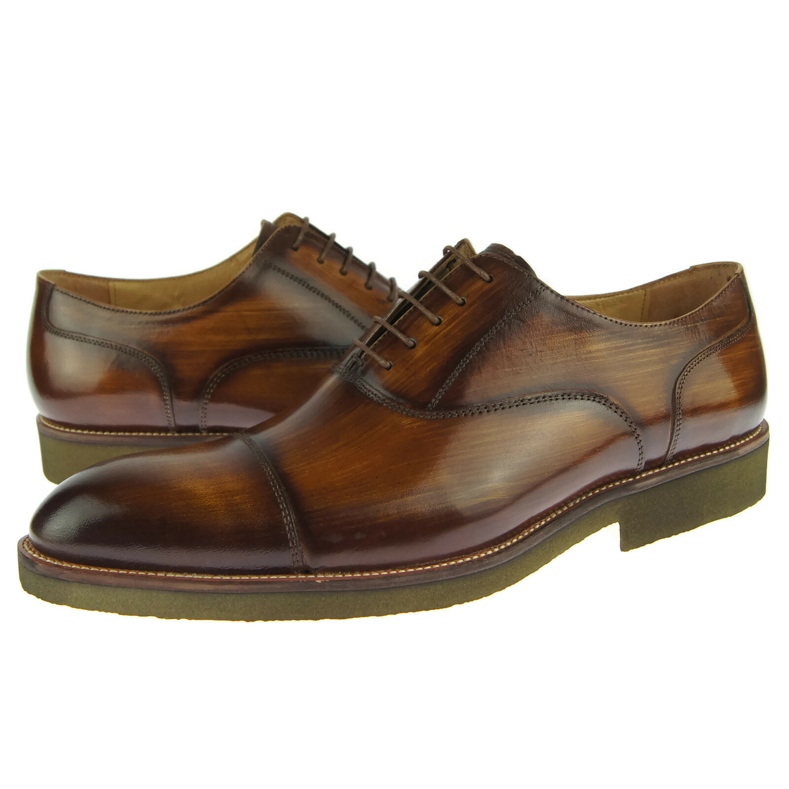 Carrucci Cap Toe Leather Oxford, Men's Dress Casual shoes, Cognac