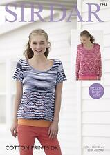 bbc214109a1 Sirdar Cotton Prints Double Knit Sweater Pattern 7943 Includes Larger Sizes