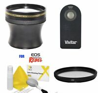 58MM 4.7X ZOOM LENS + UV FILTER + REMOTE FOR CANON EOS REBEL T1 T2 T3 T4 T5 T6