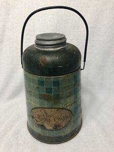 Vintage-Metal-PELICAN-COOLER-PICNIC-JUG-Green-Plaid-ATLAS-Glass-Jar-Inside