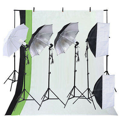 Photo Studio Photography Kit 4 Light Bulb Umbrella Muslin 3 Backdrop Stand Set