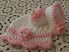 Handmade Crochet Baby Girl Hat Booties Set White & Pink  Newborn 3 Months