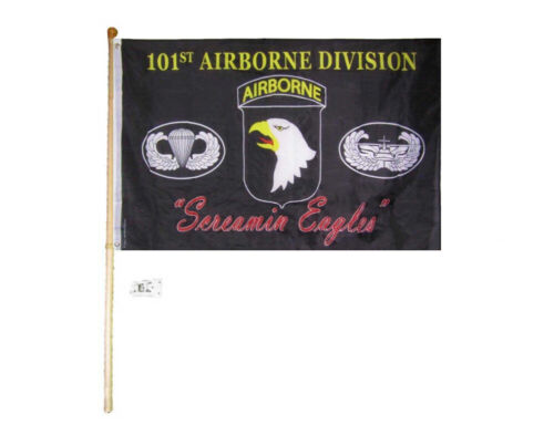 5/' Wood Pole Kit Bracket W// 3x5 101st Airborne Div Screamin Eagles Black Flag