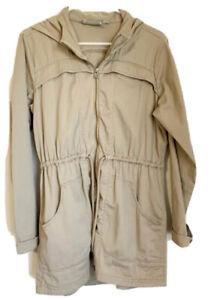 Women's ATHLETA Anytime Anorak Zip Front Hooded Jacket Khaki Beige Size Medium