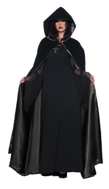 ADULT 63 INCH BLACK VELVET HOODED CAPE CLOAK GOTHIC COSTUME DRESS UR29244