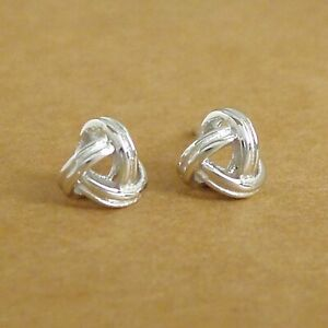 Solid-925-Sterling-Silver-Double-Knot-Twisted-Wire-Love-Knot-Post-Stud-Earrings