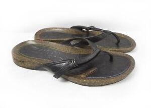 Teva Ventura Flip Flop Women S 11 Black Leather Flip Flop Thong Cork Sandals Ebay