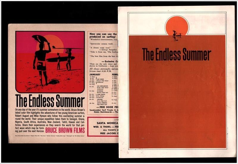 Endless Summer 1965 Original Surf Cochetel De Cine & programa - 1st. S.M. cívico de impresión