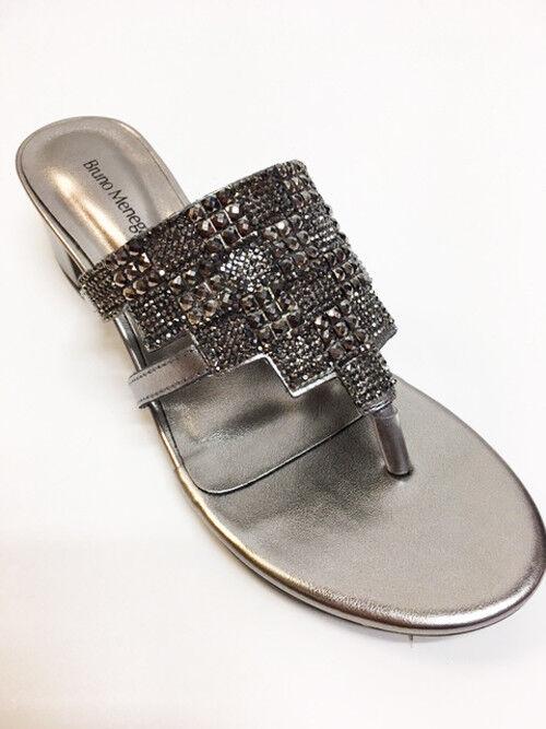 Nuevo Bruno Menegatti Pewter Cuero Para mujeres Vestido Elegante Sandalia Zapatos Tacón Bajo