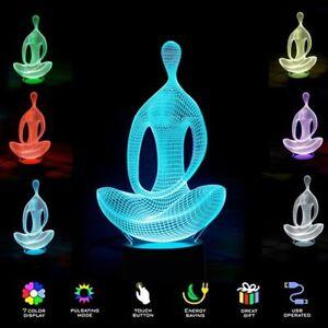 Cambio De Regalo Escritorio Noche original 7 de de mostrar USB Niños Colores LED Para Luz Lámpara 3D de Meditación acerca Mesa título Detalles Yoga H92DWIYeE