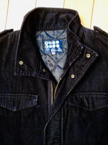 TAKEO KIKUCHI Men's Black Corduroy Quilted Jacket
