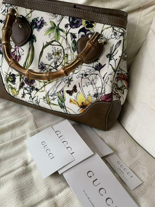 Gucci Diana Canvas Flower Bamboo 2Way Hand Should… - image 8