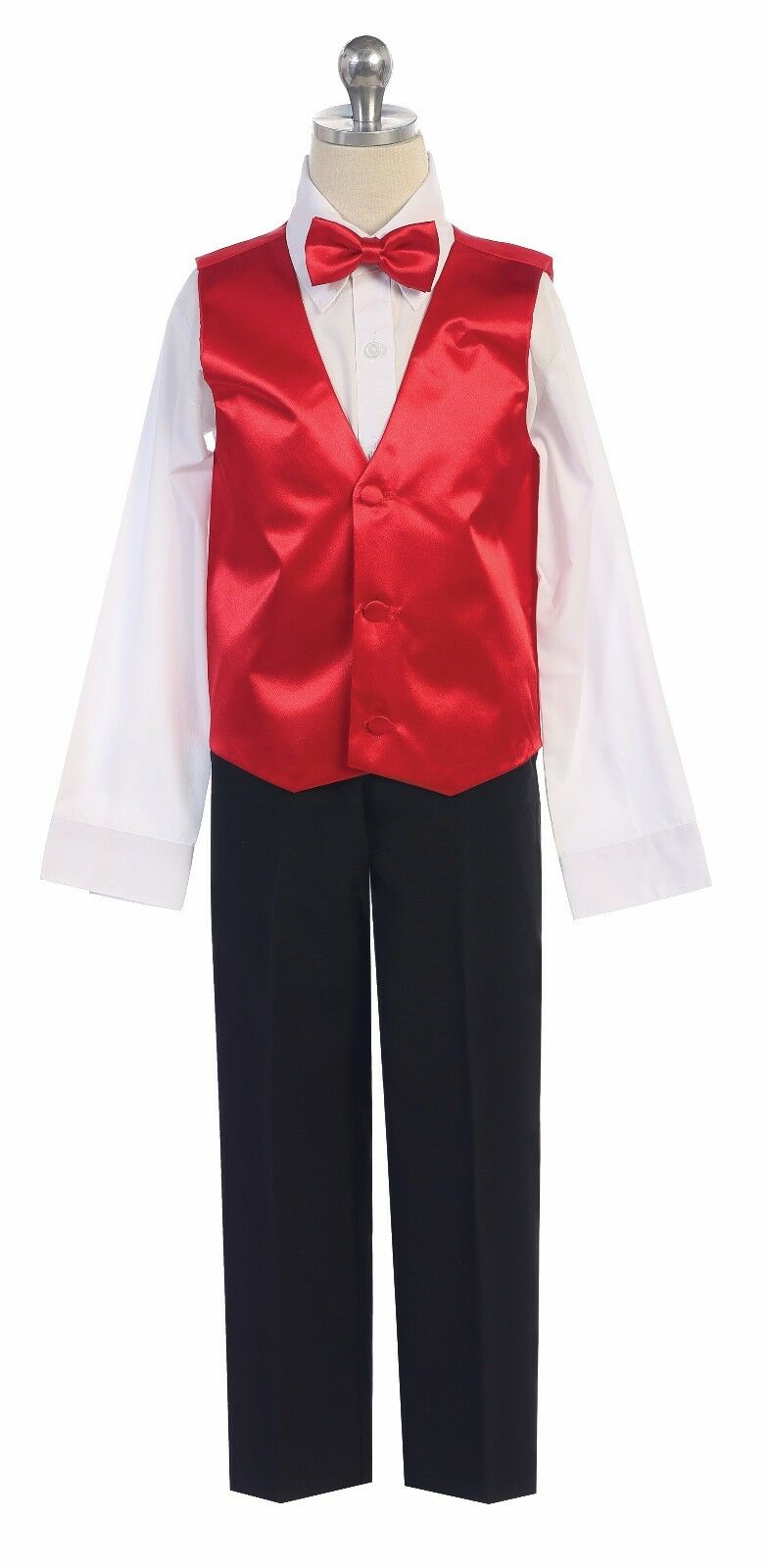 Boys Or Men Formal Satin Vest w/ Bowtie for Tuxedo Suit Made in USA All Colors