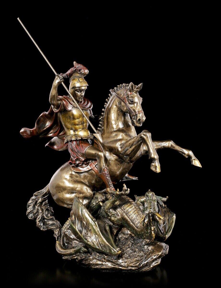 Ritter Figur - Hl. Georg der Drachentöter - Mittelalter Krieger Pferd Deko