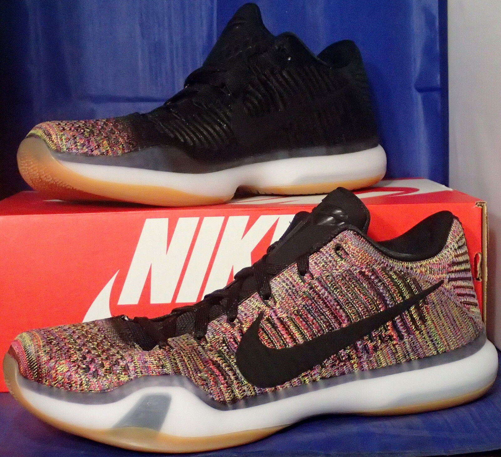 Nike Kobe X 10 Elite Low Flyknit Multicolor 2.0 QS iD SZ 11.5 ( 802817-903 )