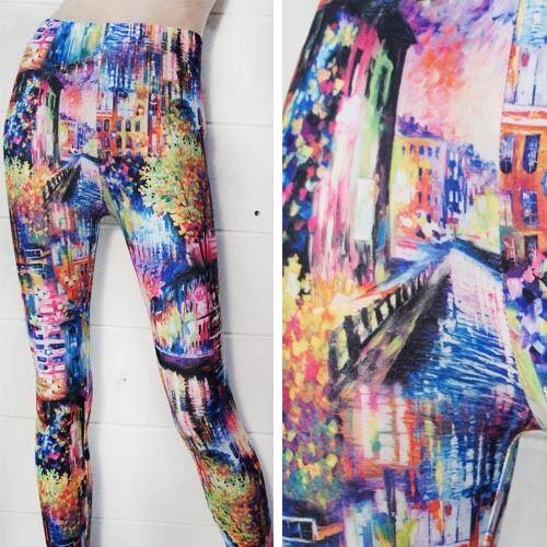 Women/'s Neon Painting Art Print Yoga Costume Leggings Stretchy Pants Trouser OS
