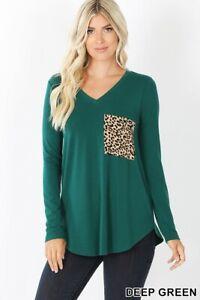 Women-039-s-Green-Long-Sleeve-V-Neck-W-Leopard-Print-Pocket-Sm-3x-Tee-Shirt-Top