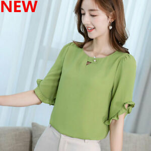 T-Shirt-Women-Top-Short-Sleeve-Loose-Blouse-Shirt-Summer-Ladies-Chiffon-Fashion