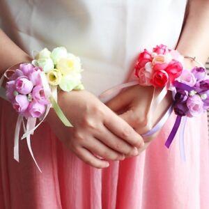 2pcs Brautjungfer Hochzeit Prom Party Handgelenk Blumen Armband Hand