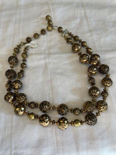 VINTAGE Bronze Rosebud 1940's Necklace ESTATE