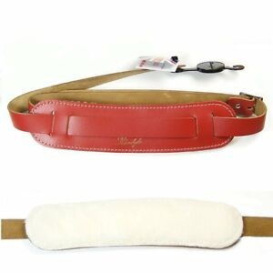 Klondyke-039-50s-style-Leather-strap-with-sheepskin-backing-pad-Red-5017