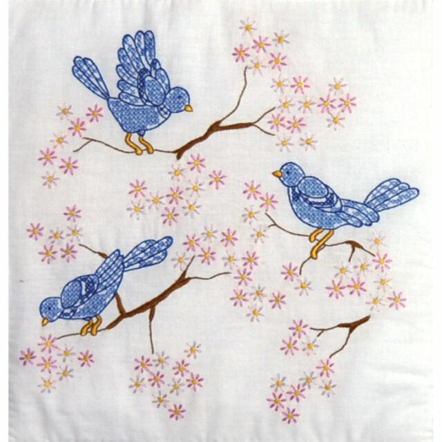 1 Pk Jack Dempsey Bluebird Antique Stamped X Stitch//Embroidery Quilt Blocks