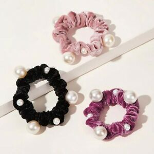 Women-Velvet-Pearl-Elastic-Hair-Rope-Scrunchies-Solid-Color-Hair-Accessories-b