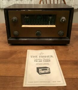 Vintage-THE-FISHER-Series-80-Model-80-T-Tube-Radio-1958-Powers-On-with-Manual