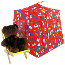 Red, bear & sports print Toy Play Pop Up Fabric House, 2 Sleeping Bags, handmade