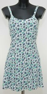 Summer-White-Blue-Fit-and-Flare-Tea-Dress-Size-8-UK-Floral