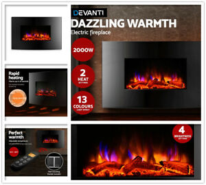 Astounding Details About 2000W Wall Mounted Electric Fireplace Fire Log Heater 3D Flame Tempered Glass Au Home Interior And Landscaping Ologienasavecom