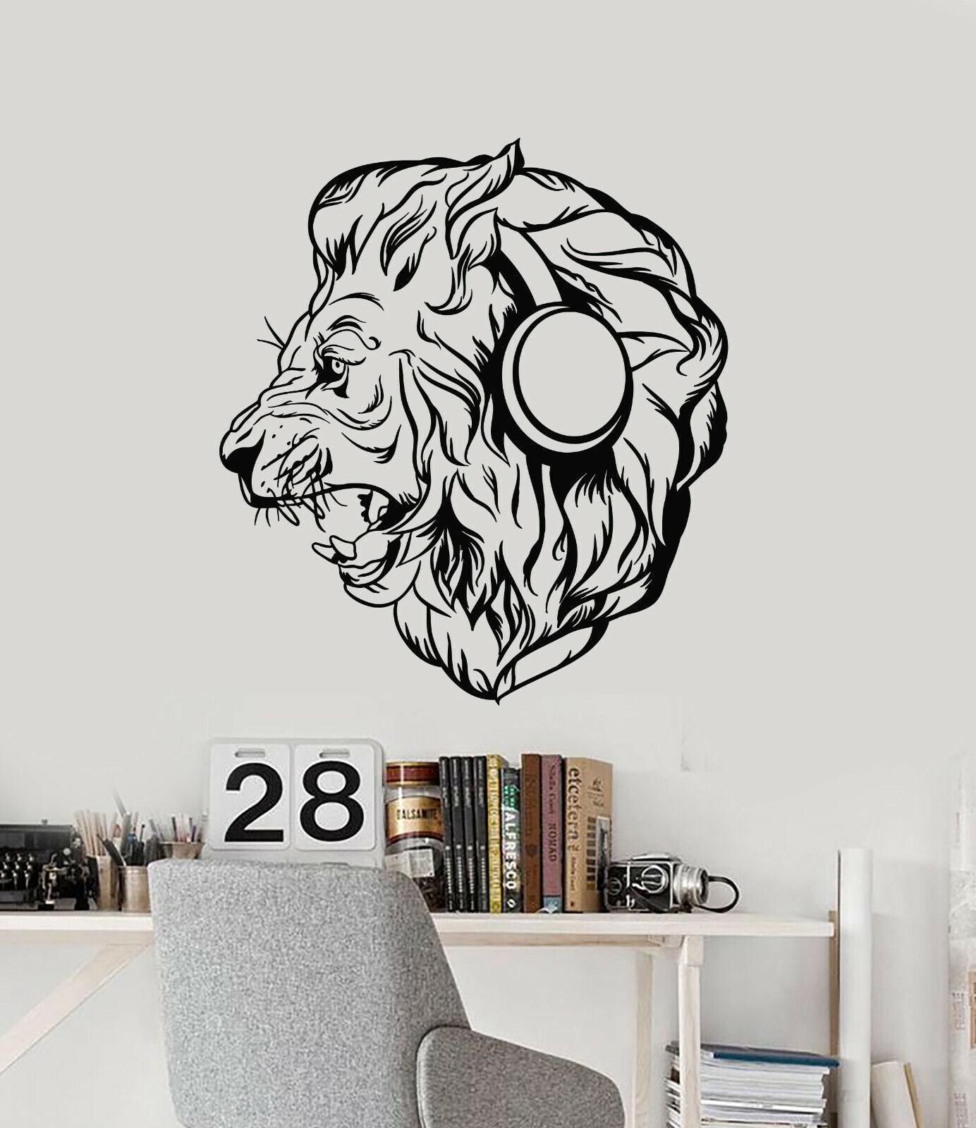 Vinyl Wall Decal Lion Head Headphones Music Animal Protator Stickers (g873)