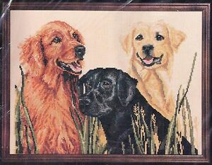 Vintage-Janlynn-Counted-Cross-Stitch-Kit-Retrievers-1987-58-5-Sporting-Masters