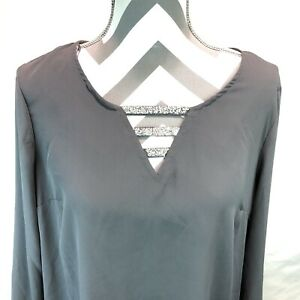 Juicy Couture Strap Front Woven Rhinestone V Neck Long Sleeve Blouse Large PPP4