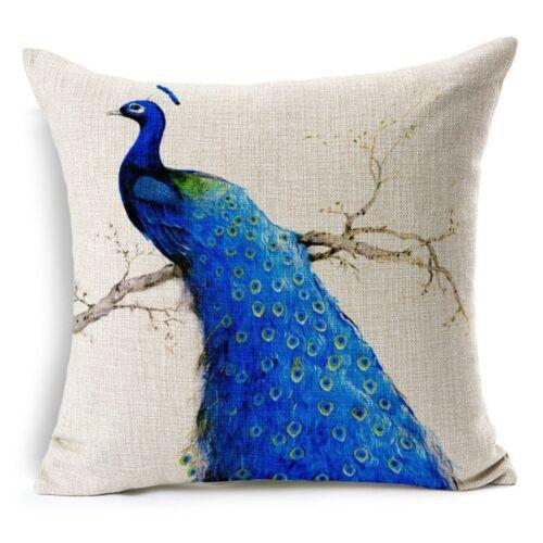 Vintage Peacock /& Flowers Pillow Case Cotton Linen Sofa Cushion Cover Home Decor