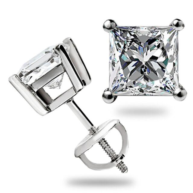 3.1 Ct Solitaire Princess Cut Stud Earrings Lab Diamond 14K White Gold Screwback