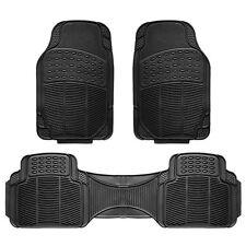 3pc Car Floor Mat Universal Set Carpet Mats Rugs Truck SUV Deluxe Rubber Black