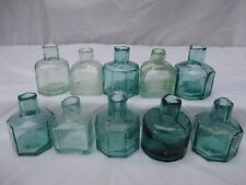 10x ASSORTMENT OF SHEAR TOP INK BOTTLES INKWELLS  OLD VINTAGE ANTIQUE 1890s