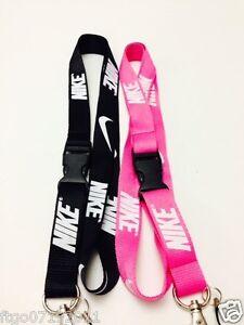Image is loading Nike-Lanyard-Black-amp-Pink-Key-Badge-cell-
