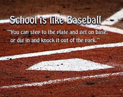 School Classroom Motivational Poster Art Print Baseball Kids Room Boys MVP593