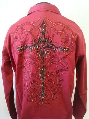 406 BURGANDY VICTORIOUS SHIRT MEN CASUAL STONE CROSS TATTOO CLUB PARTY SLIM FIT