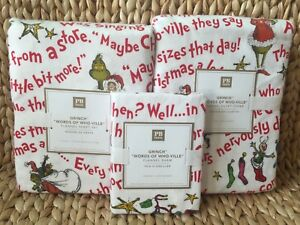 Pottery-Barn-The-Grinch-Words-Of-Who-Ville-Twin-Duvet-Sheet-Set-Sham-Christmas