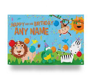 Detalles De Personalizado Selva Feliz Cumpleaños Animales Bandera Decoración Fiesta