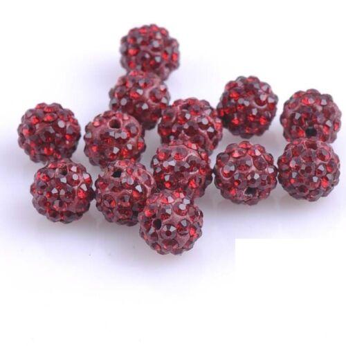 100 PCS Small Hole Premium Shamballa Crystal Pave Clay Disco Ball Round Beads