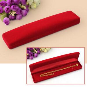 Rot-Samt-Schmucketui-Schmuckschachtel-Box-Geschenkbox-Display-f-Halskette-Uhren