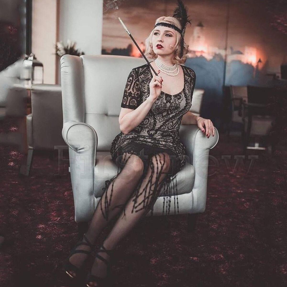 1920s Flapper Dress Great Gatsby Lace Tassel Fringe Evening Cocktail 20s Dresses