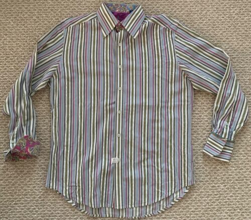 Robert Graham Mens LS Button Up Flip Cuff Shirt Gr